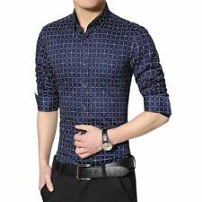 Men Solid Color Casual Style Plaid Pattern Shirt Long Sleeve Shirt