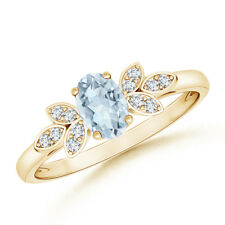 Oval Cut Aquamarine & Diamond Solitaire with Accents Ring 14K Gold