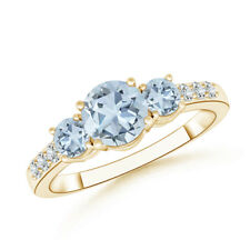 Three Stone Round Aquamarine Ring with Diamond 14K Yellow Gold