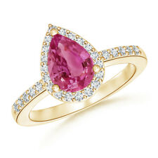 Pear Pink Sapphire Engagement Ring with Diamond Halo 14K Yellow Gold