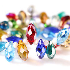 Clear Oval Faceted Czech Crystal Beads Teardrop Of Transparent Glass BeadsForDiy