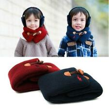 Casual Kids Soft Fall Winter Warm Wooden Buckle Scarf Neckerchief For WT88