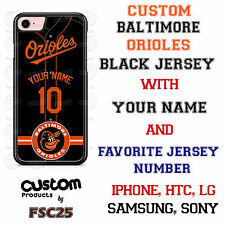 Custom Baltimore Orioles Black Jersey Phone Case w/ Your Name & # for iPhone
