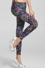 """PAISLEY RETRO"" Silky Soft Printed Fashion Leggings - Choose Size 6 or 8"