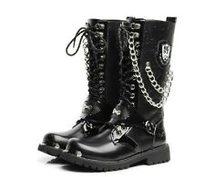Punk Rock MENS BLACK GOTH PUNK ROCK BAND BUCKLE BOOTS