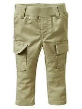 NWT BABY GAP GIRL'S GREEN PULL-ON CARGO SKINNY PANTS 97% COTTON, 3% LYCRA