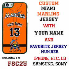 Custom Miami Marlins Orange Jersey Phone Case Your with Name & # for iPhone