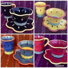 3PC SET CERTIFIED INT'L GARDEN BRIGHTS Susan Winget Plate Bowl Mug Red Blue Blac