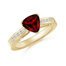 Trillion Cut Garnet Solitaire Ring with Diamond 14K Yellow Gold
