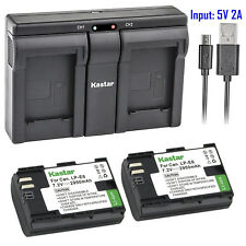 Kastar 2 Battery & Dual Slim USB Charger for Canon LP-E6 LP-E6N LPE6 LPE6N LC-E6