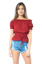 Edgelook Lace-Up Smocked Waist Blouse Top