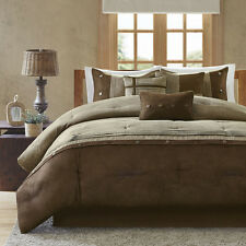 7pc  brown beige rustic earthly lodge look textured comforter sham bedskirt set
