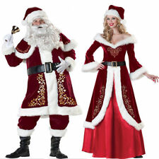 Mrs Claus Costume Santa Outfit Christmas Fancy Dress Mr. Adult Cosplay Prom Set