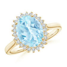 Diamond Halo Vintage Oval Aquamarine Cocktail Ring 14K Yellow Gold