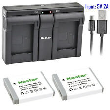 Kastar 2 Battery & Dual Slim USB Charger for Canon NB-6L NB6L NB-6LH NB6LH