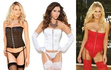 Exquisite satin strapless corset with boning hook and eye front Elegant Moments