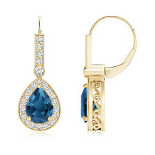 Vintage Style Pear Shaped London Blue Topaz Diamond Earrings 14k Yellow Gold