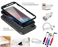10 Item Accessory Bundle ShockProof Phone Case Cover + BUILT-IN SCREEN PROTECTOR