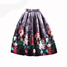 Women Fashion Vintage Style Floral Print High Waist a-line Pleated Midi Skirt