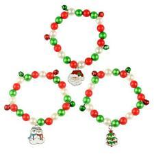 Colorful Beads Merry Christmas Bracelet Bangle Charms Jingle Bell Xmas Festival