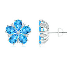 Pear-Shaped Swiss Blue Topaz Diamond Stud Earrings 14K White Gold