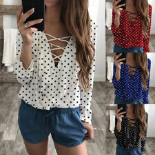 Fashion Women Ladies Long Sleeve Loose Blouse Summer V Neck Casual Shirt Tops