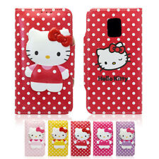 Hello Kitty Body Button Leather Card Wallet Cover Case For Samsung Galaxy S5