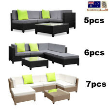 5/6/7 x Wicker Rattan Lounge Set Garden Outdoor Sofa Chair Couch Table Setting