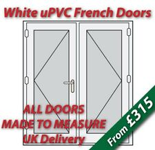 White uPVC French Doors **Made to Measure** White handles, GOLD spacer bars