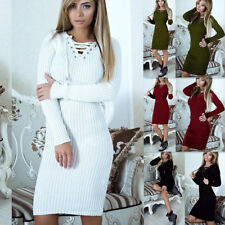 Evening Party Cocktail  Sweater Dress Women Long Sleeve Bandage Bodycon Knitted