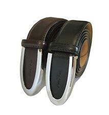 Men's Genuine Cowhide Brown & Black Leather GOLD PACO Belt Smooth/Pin Buckle