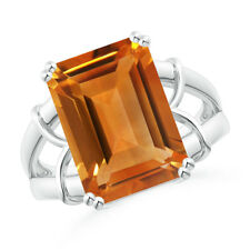 6.8 ctw Emerald Cut Citrine Cocktail Ring 14K White Gold Size 3-13