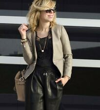 ZARA Gray Faux Leather Jacket With Zip Size  M BLOGGERS FAV!!!