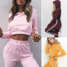 Women Tracksuit Hoodies Sweatshirt Pants Sets Crop Top Sport Wear Casual Suit