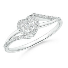Composite Round Natural Diamond Heart Ring 14K White Gold Size 3-13