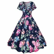 Women New Fashion Floral Printed Short Sleeve V-neck Party Wear Dress