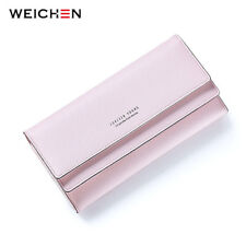 WEICHEN Casual Hasp Women Wallet Candy Color PU Leather Long Female Clutch Gift