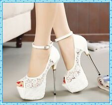 Women Summer Sandal Lace Pump Platform White Shoes Stiletto Heels Open Toe Shoes