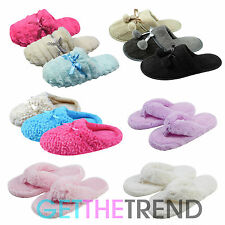 Ladies Womens Slipper Shoes Womens Open Toe Post Faux Fur Slip On Mules Slippers