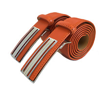 Genuine Cowhide Orange Leather GOLD PACO Men's Belt Smooth/Pin Buckle
