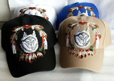 Wolf with Feathers, Embroidered Adjustable Ball Cap Hat , NEW, FREE SHIPPING