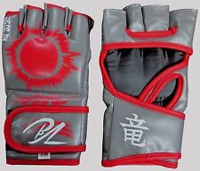 MMA GRAPPLING UFC CAGE SPARRING FIGHT BOXING PUNCH LEATHER GRAY GLOVES