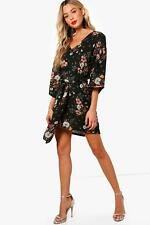 Boohoo Womens Paige Tie Neck Kimono Sleeve Shift Dress