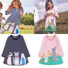 Baby Girls Toddler Infant Cute Flower Long Sleeve Dress Cotton Dress 5 Colors