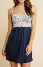 NWT Eberjey Mabel Teal & Ivory Lace Chemise Nightgown Babydoll  Medium M
