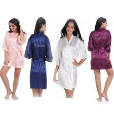 Satin Rhinestone Robe Bridesmaid Wedding Kimono Sleepwear Wedding Gown