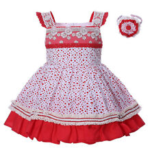 Toddler Girls Polka Dot Dress and Headband Set Embroidered Party Wedding Pageant