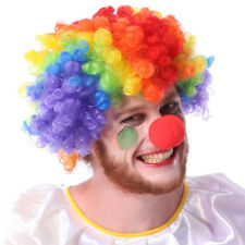 Party Disco Rainbow Afro Clown Hair Football Fan Adult  Costume Curly Wig j5l