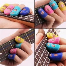 4xGuitar Fingertip Protectors Silicone Finger Guards for Bass/Ukulele Guitar BH