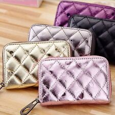 Women Accordion Zipper Leather Wallet Credit Name Card Soft Money Holder Case